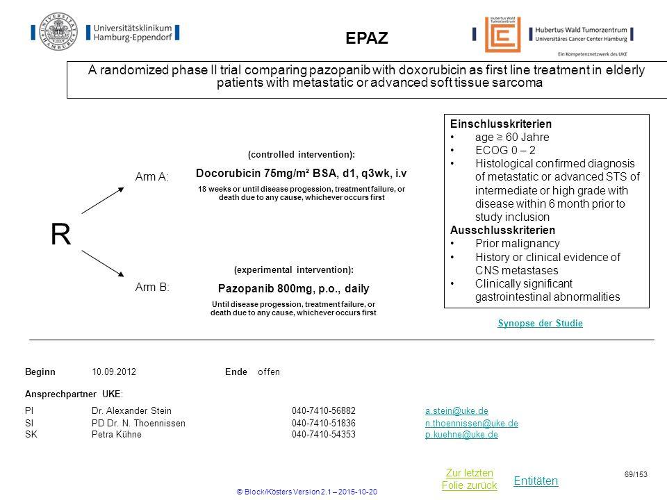 Entitäten Zur letzten Folie zurück EPAZ A randomized phase II trial comparing pazopanib with doxorubicin as first line treatment in elderly patients w