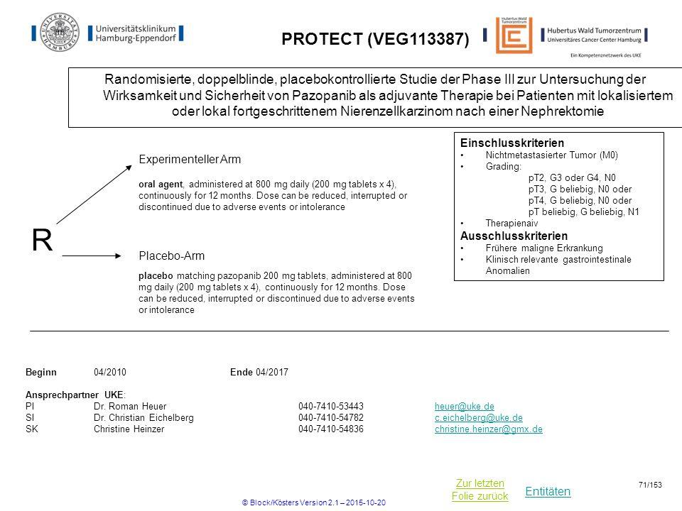 Entitäten Zur letzten Folie zurück PROTECT (VEG113387) Randomisierte, doppelblinde, placebokontrollierte Studie der Phase III zur Untersuchung der Wir