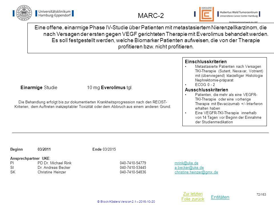 Entitäten Zur letzten Folie zurück MARC-2 Eine offene, einarmige Phase IV-Studie über Patienten mit metastasiertem Nierenzellkarzinom, die nach Versag