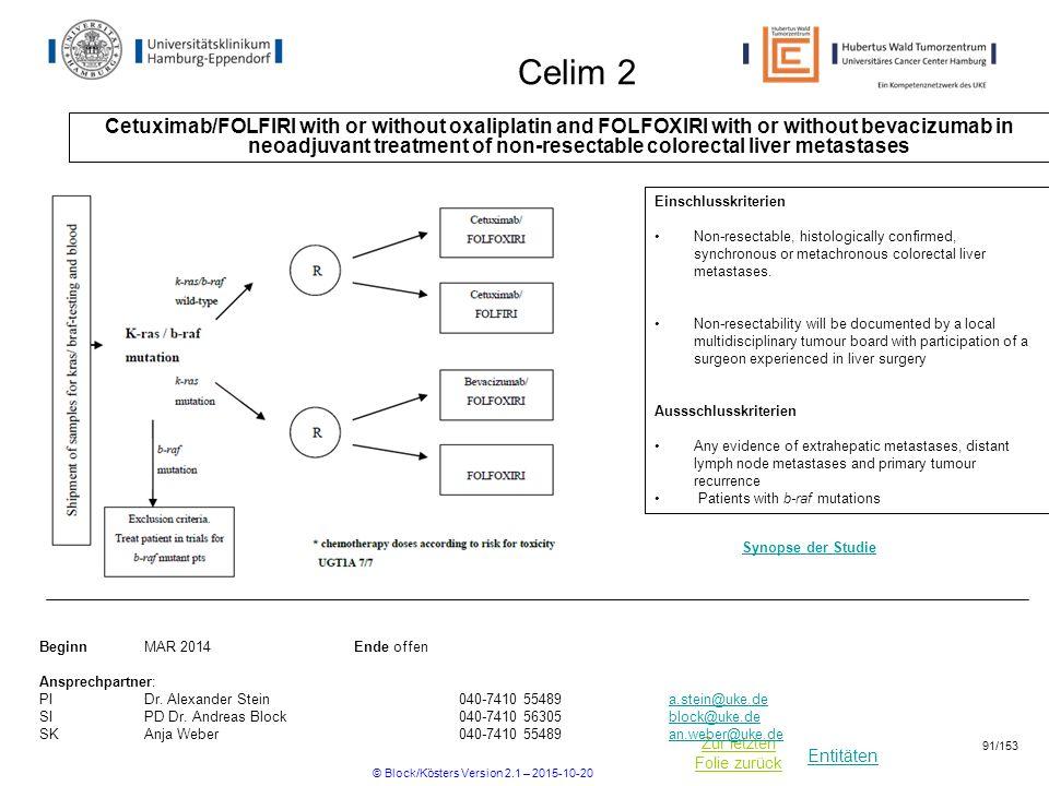 Entitäten Zur letzten Folie zurück Celim 2 Cetuximab/FOLFIRI with or without oxaliplatin and FOLFOXIRI with or without bevacizumab in neoadjuvant trea
