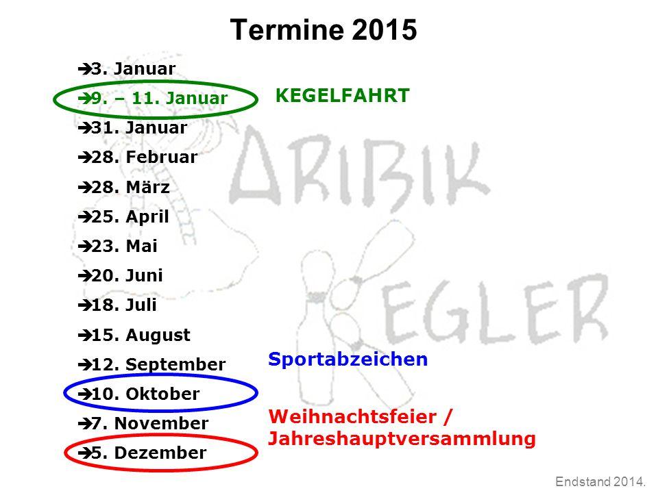Endstand 2014. Termine 2015  3. Januar  9. – 11.