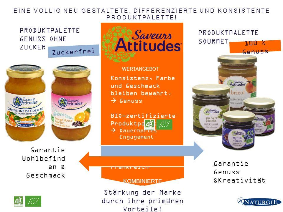 PRODUKTPALETTE GENUSS OHNE ZUCKER PRODUKTPALETTE GOURMET Konsistenz, Farbe und Geschmack bleiben bewahrt.