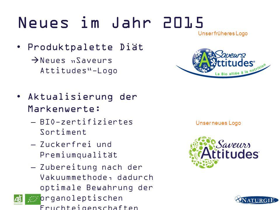 """Neues im Jahr 2015 Produktpalette Diät  Neues """"Saveurs Attitudes""""-Logo Aktualisierung der Markenwerte: –BIO-zertifiziertes Sortiment –Zuckerfrei und"""
