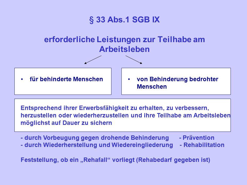 """§ 33 Abs.1 SGB IX erforderliche Leistungen zur Teilhabe am Arbeitsleben für behinderte Menschenvon Behinderung bedrohter Menschen Entsprechend ihrer Erwerbsfähigkeit zu erhalten, zu verbessern, herzustellen oder wiederherzustellen und ihre Teilhabe am Arbeitsleben möglichst auf Dauer zu sichern - durch Vorbeugung gegen drohende Behinderung - Prävention - durch Wiederherstellung und Wiedereingliederung - Rehabilitation Feststellung, ob ein """"Rehafall vorliegt (Rehabedarf gegeben ist)"""