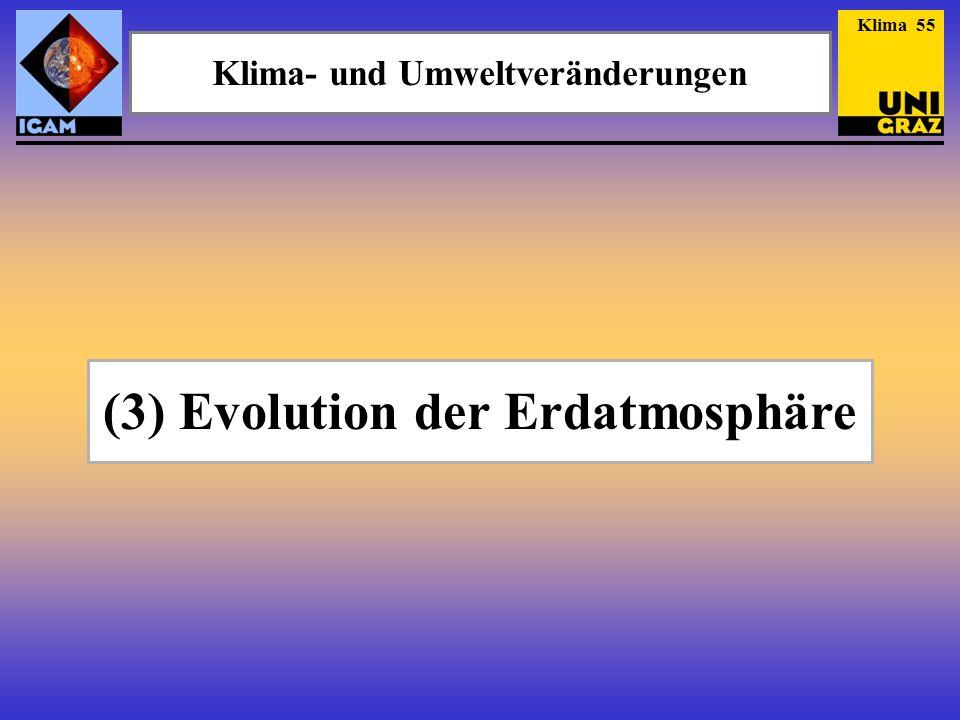 (3) Evolution der Erdatmosphäre Klima- und Umweltveränderungen Klima 55