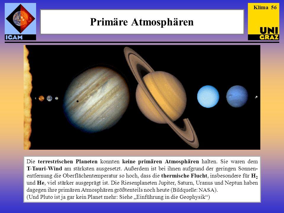 Primäre Atmosphären Die terrestrischen Planeten konnten keine primären Atmosphären halten. Sie waren dem T-Tauri-Wind am stärksten ausgesetzt. Außerde