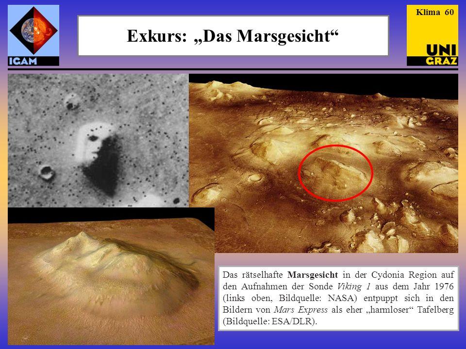 """Exkurs: """"Das Marsgesicht"""" Das rätselhafte Marsgesicht in der Cydonia Region auf den Aufnahmen der Sonde Viking 1 aus dem Jahr 1976 (links oben, Bildqu"""
