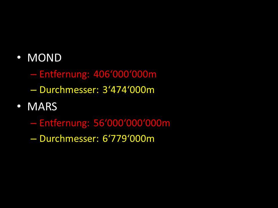 MOND – Entfernung: 406'000'000m – Durchmesser: 3'474'000m MARS – Entfernung: 56'000'000'000m – Durchmesser: 6'779'000m