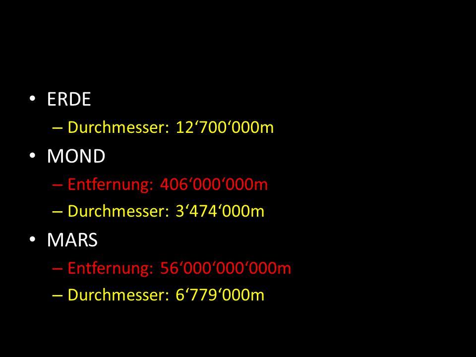 ERDE – Durchmesser: 12'700'000m MOND – Entfernung: 406'000'000m – Durchmesser: 3'474'000m MARS – Entfernung: 56'000'000'000m – Durchmesser: 6'779'000m