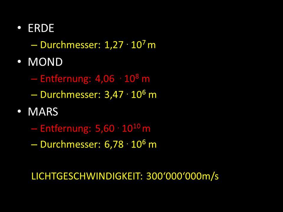 ERDE – Durchmesser: 1,27. 10 7 m MOND – Entfernung: 4,06.