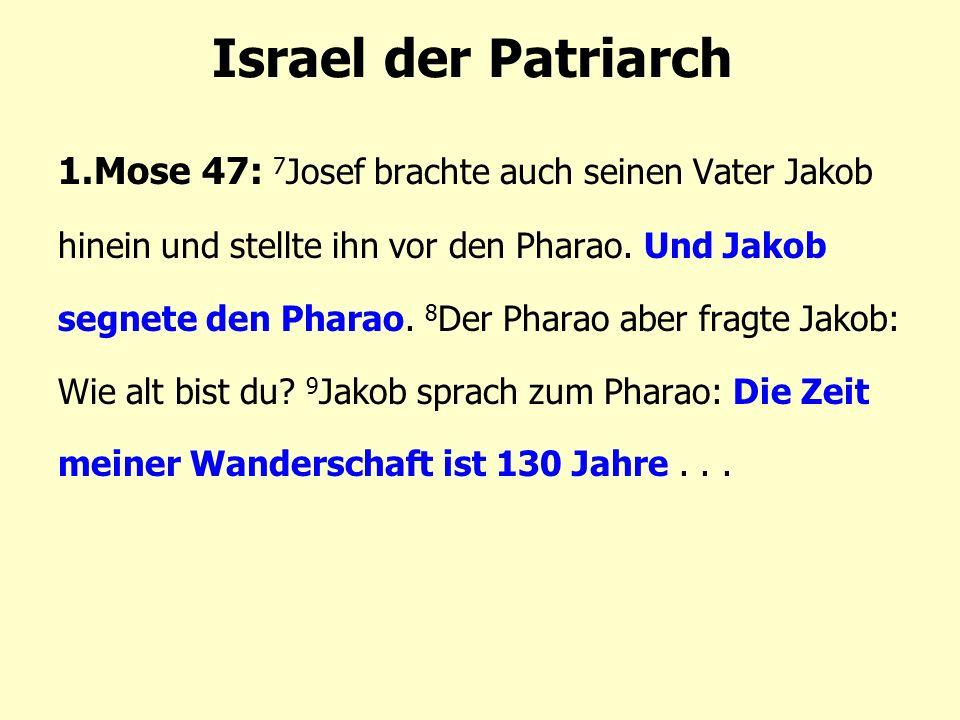 Israel der Patriarch 1.Mose 47: 7 Josef brachte auch seinen Vater Jakob hinein und stellte ihn vor den Pharao.