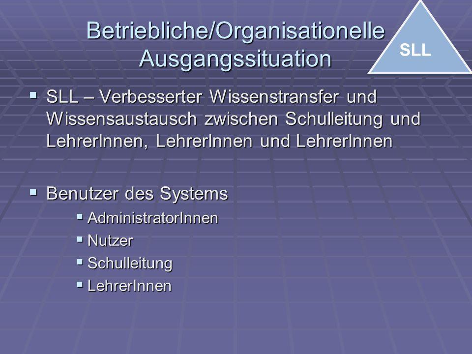 Betriebliche/Organisationelle Ausgangssituation  SLL – Verbesserter Wissenstransfer und Wissensaustausch zwischen Schulleitung und LehrerInnen, Lehre