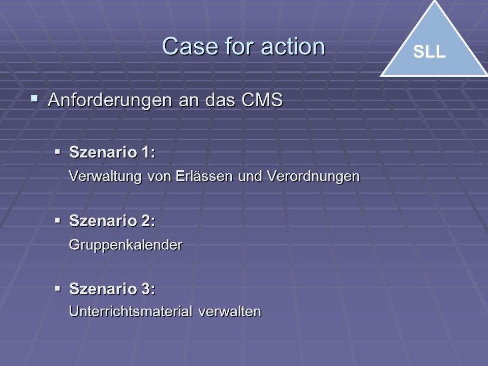 Case for action  Anforderungen an das CMS  Szenario 1: Verwaltung von Erlässen und Verordnungen  Szenario 2: Gruppenkalender  Szenario 3: Unterrichtsmaterial verwalten SLL