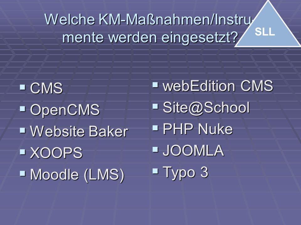 Welche KM-Maßnahmen/Instru- mente werden eingesetzt?  CMS  OpenCMS  Website Baker  XOOPS  Moodle (LMS)  webEdition CMS  Site@School  PHP Nuke