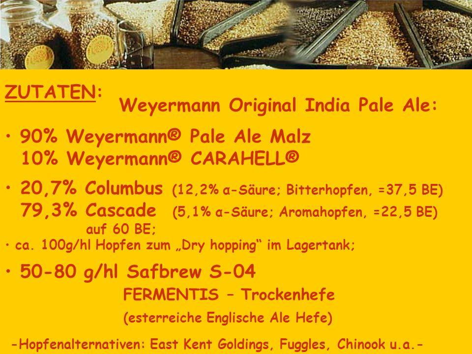 ZUTATEN: 90% Weyermann® Pale Ale Malz 10% Weyermann® CARAHELL® 20,7% Columbus (12,2% α-Säure; Bitterhopfen, =37,5 BE) 79,3% Cascade (5,1% α-Säure; Aro