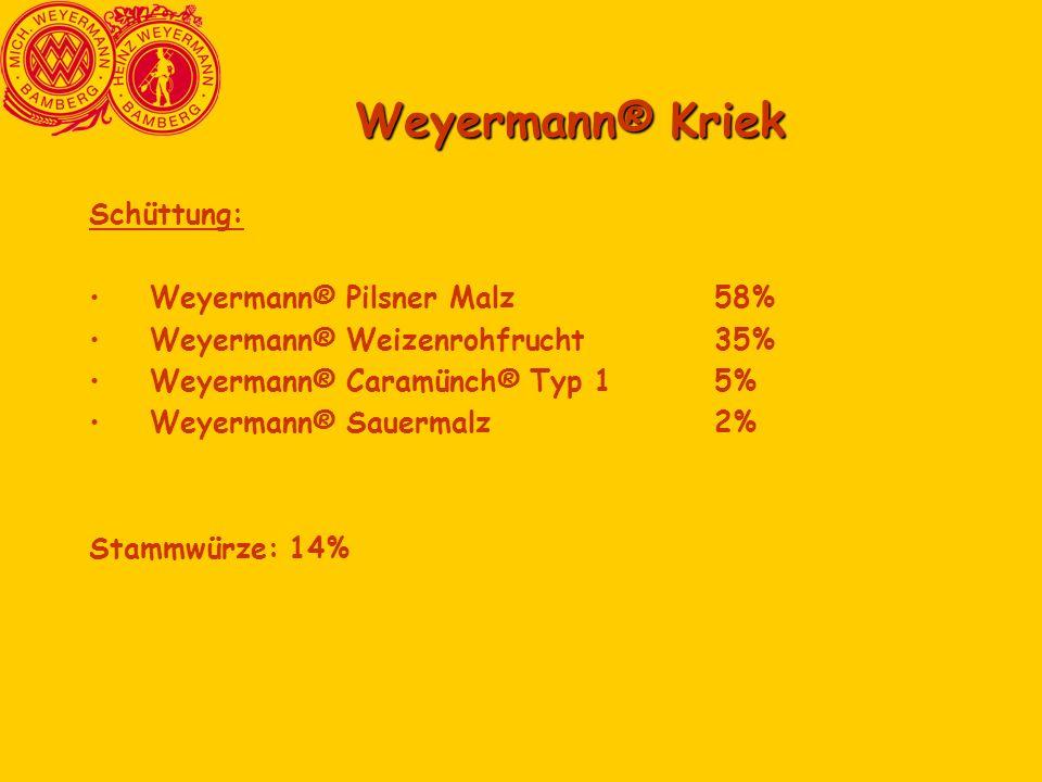 Weyermann® Kriek Schüttung: Weyermann® Pilsner Malz58% Weyermann® Weizenrohfrucht35% Weyermann® Caramünch® Typ 15% Weyermann® Sauermalz2% Stammwürze: