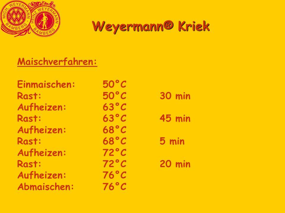 Weyermann® Kriek Maischverfahren: Einmaischen:50°C Rast:50°C30 min Aufheizen:63°C Rast:63°C45 min Aufheizen:68°C Rast:68°C5 min Aufheizen:72°C Rast:72