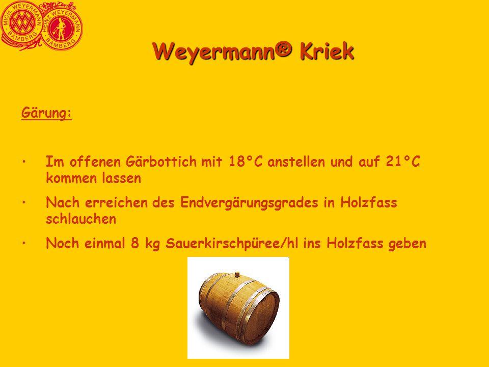 Weyermann® Kriek Gärung: Im offenen Gärbottich mit 18°C anstellen und auf 21°C kommen lassen Nach erreichen des Endvergärungsgrades in Holzfass schlau