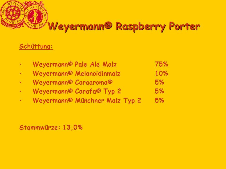Weyermann® Raspberry Porter Schüttung: Weyermann® Pale Ale Malz75% Weyermann® Melanoidinmalz10% Weyermann® Caraaroma®5% Weyermann® Carafa® Typ 25% Wey
