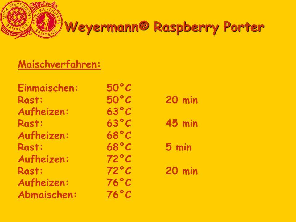 Weyermann® Raspberry Porter Maischverfahren: Einmaischen:50°C Rast:50°C20 min Aufheizen:63°C Rast:63°C45 min Aufheizen:68°C Rast:68°C5 min Aufheizen:7