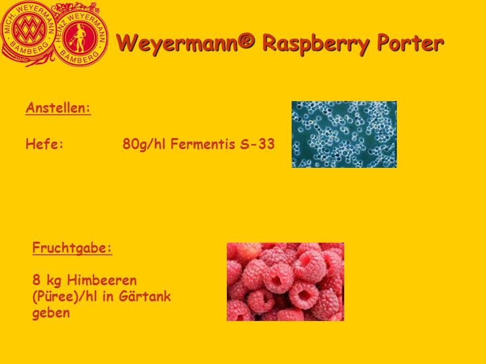 Weyermann® Raspberry Porter Anstellen: Hefe:80g/hl Fermentis S-33 Fruchtgabe: 8 kg Himbeeren (Püree)/hl in Gärtank geben