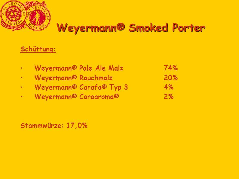 Weyermann® Smoked Porter Schüttung: Weyermann® Pale Ale Malz74% Weyermann® Rauchmalz20% Weyermann® Carafa® Typ 34% Weyermann® Caraaroma®2% Stammwürze: