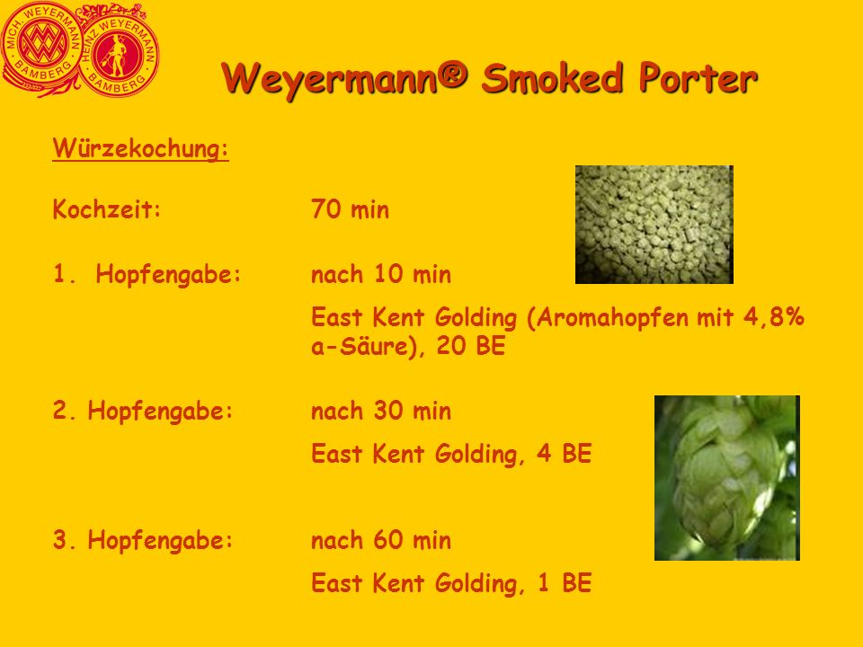 Weyermann® Smoked Porter Würzekochung: Kochzeit:70 min 1.Hopfengabe:nach 10 min East Kent Golding (Aromahopfen mit 4,8% a-Säure), 20 BE 2. Hopfengabe: