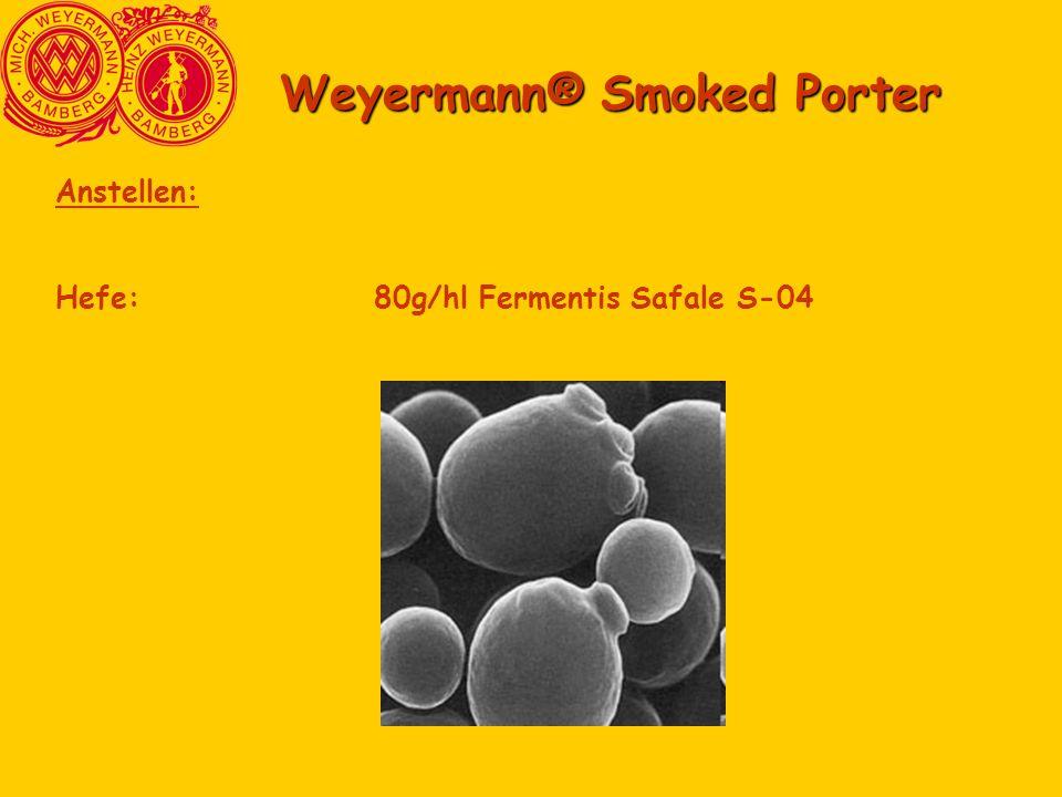 Weyermann® Smoked Porter Anstellen: Hefe:80g/hl Fermentis Safale S-04