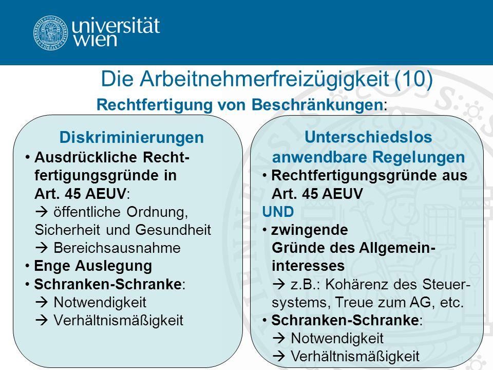 11 Diskriminierungen Ausdrückliche Recht- fertigungsgründe in Art.