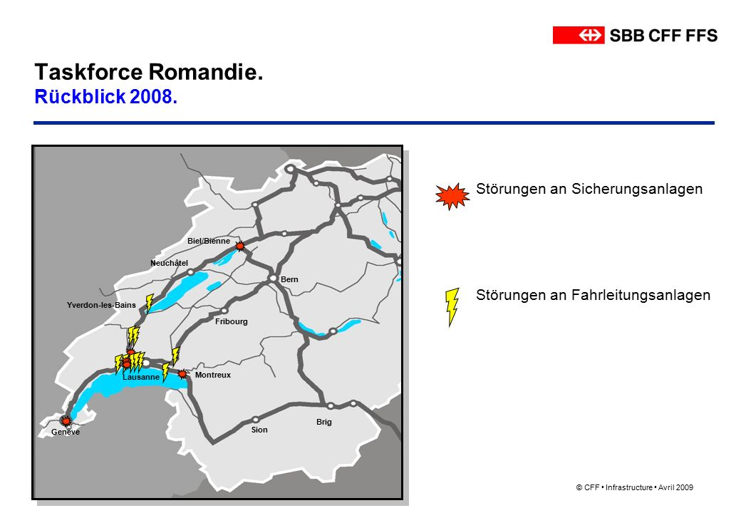 © CFF Infrastructure Avril 2009 Taskforce Romandie.