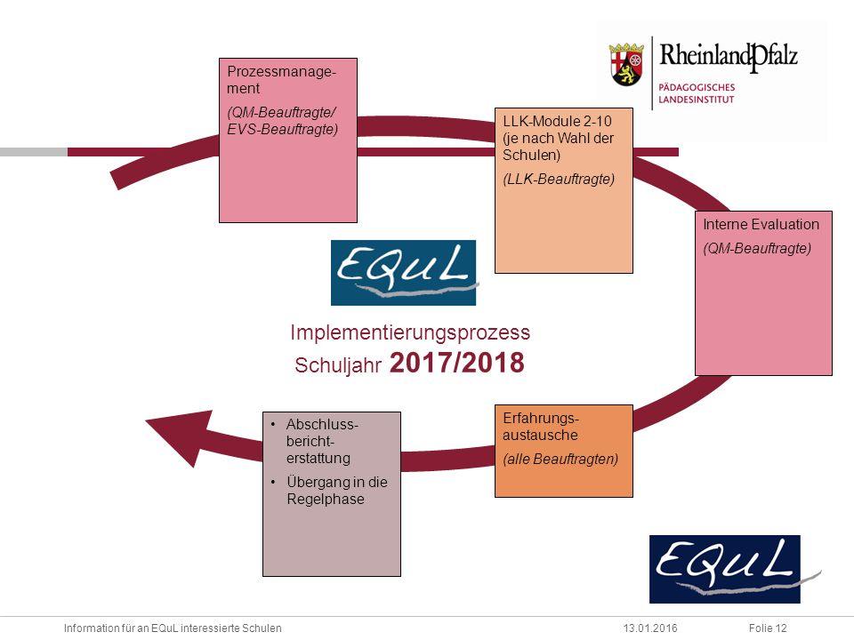 Folie 12Information für an EQuL interessierte Schulen13.01.2016 Prozessmanage- ment (QM-Beauftragte/ EVS-Beauftragte) Erfahrungs- austausche (alle Beauftragten) Implementierungsprozess Schuljahr 2017/2018 Interne Evaluation (QM-Beauftragte) LLK-Module 2-10 (je nach Wahl der Schulen) (LLK-Beauftragte) Abschluss- bericht- erstattung Übergang in die Regelphase