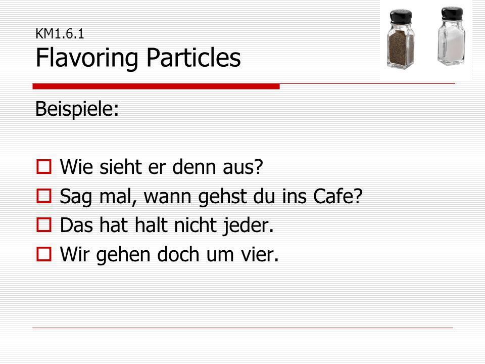 KM1.6.1 Flavoring Particles Beispiele:  Wie sieht er denn aus?  Sag mal, wann gehst du ins Cafe?  Das hat halt nicht jeder.  Wir gehen doch um vie