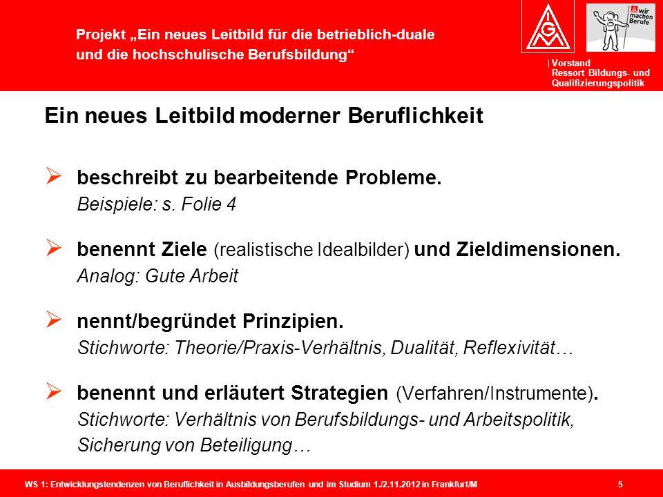 Vorstand Ressort Bildungs- und Qualifizierungspolitik WS 1: Entwicklungstendenzen von Beruflichkeit in Ausbildungsberufen und im Studium 1./2.11.2012 in Frankfurt/M 5 Ein neues Leitbild moderner Beruflichkeit  beschreibt zu bearbeitende Probleme.