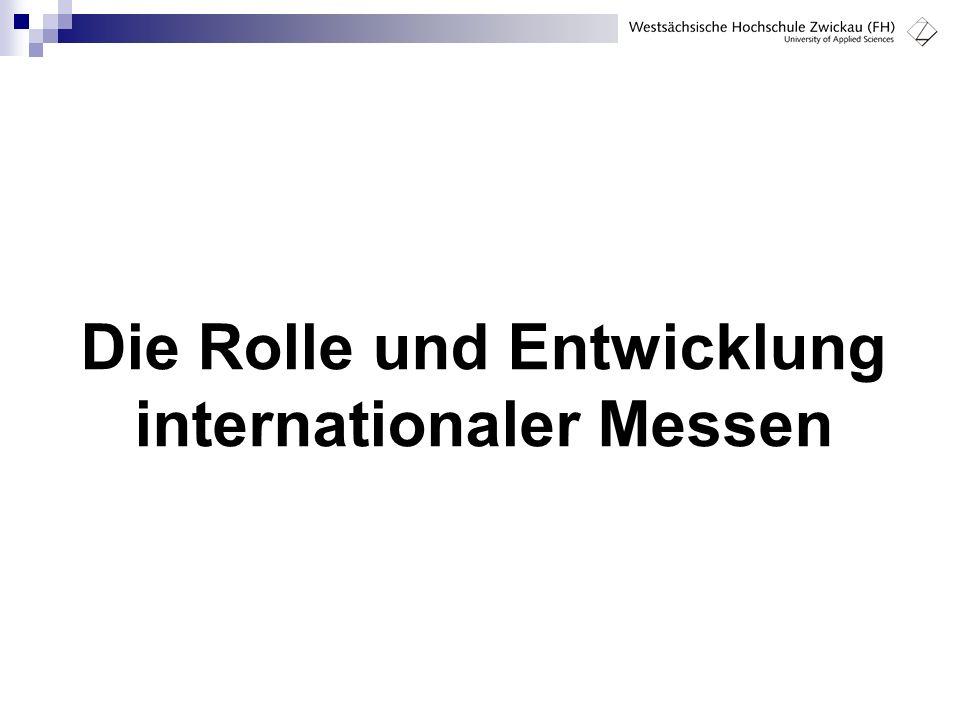 22 Kennzahlen internationaler Messen 2004  vermietete Standfläche: 6.617.716 m²  Aussteller: 166.991  davon  78.868 aus dem Inland   88.123 aus dem Ausland  83% der deutschen Aussteller < 500 Mitarbeiter  54% der deutschen Aussteller < 50 Mitarbeiter  Besucher: 9.675.845  Umsatz deutscher Messeveranstalter: 2,5 Mrd.