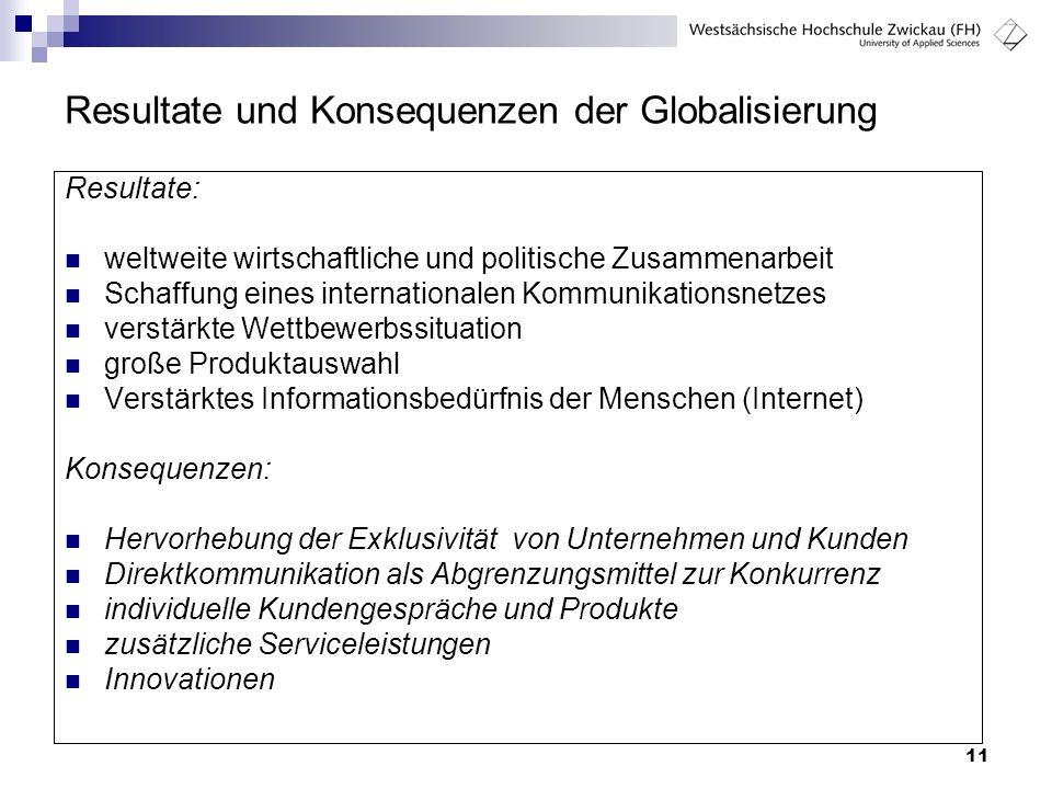 11 Resultate und Konsequenzen der Globalisierung Resultate: weltweite wirtschaftliche und politische Zusammenarbeit Schaffung eines internationalen Ko
