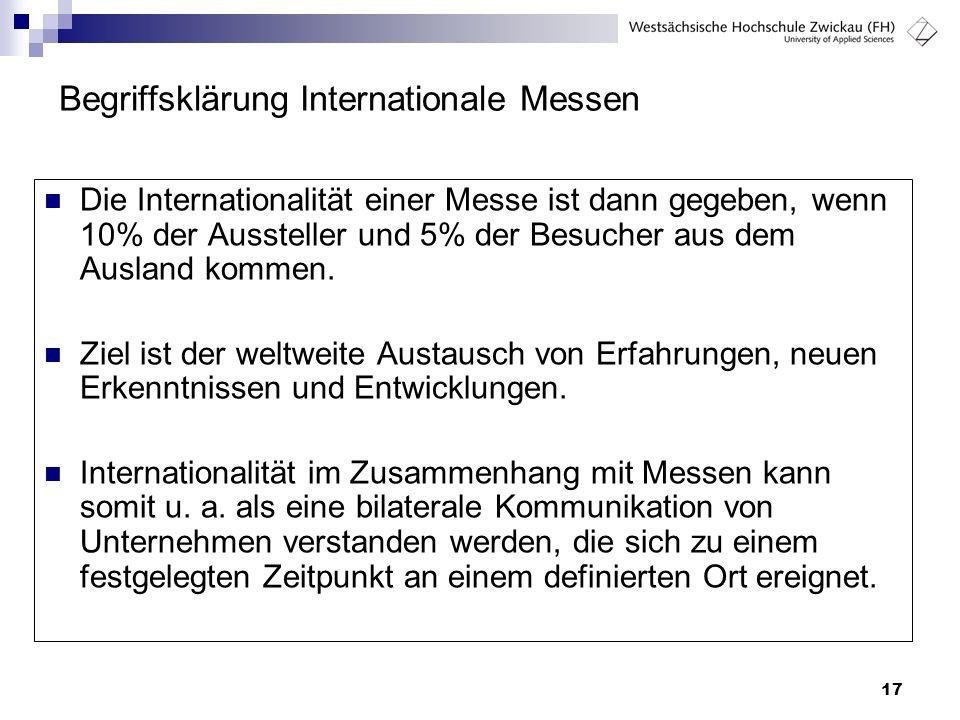 17 Begriffsklärung Internationale Messen Die Internationalität einer Messe ist dann gegeben, wenn 10% der Aussteller und 5% der Besucher aus dem Ausla