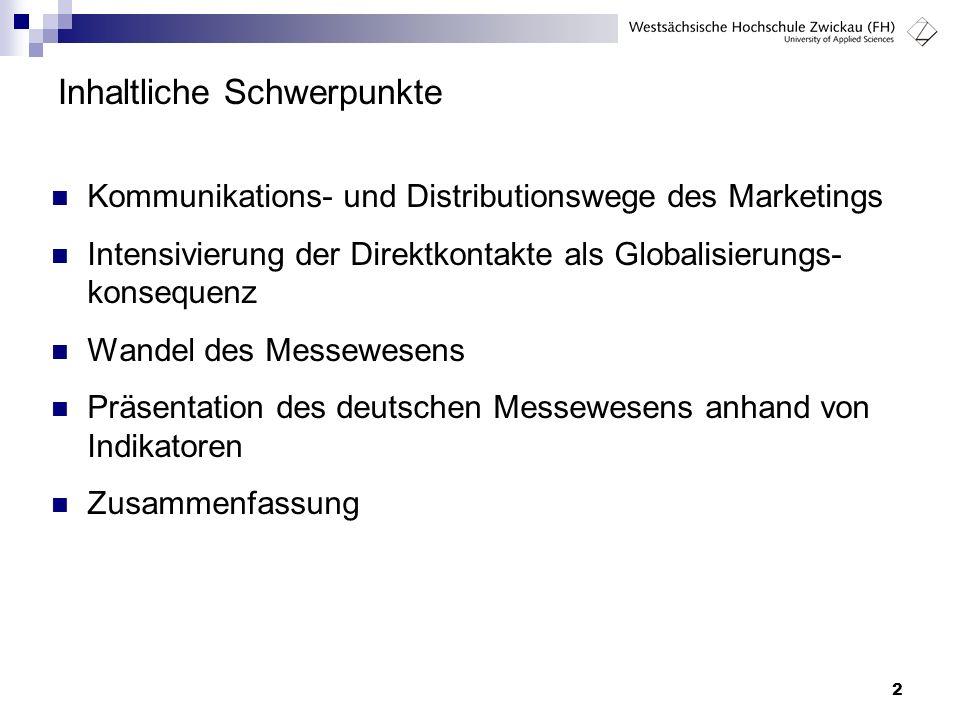 2 Inhaltliche Schwerpunkte Kommunikations- und Distributionswege des Marketings Intensivierung der Direktkontakte als Globalisierungs- konsequenz Wand