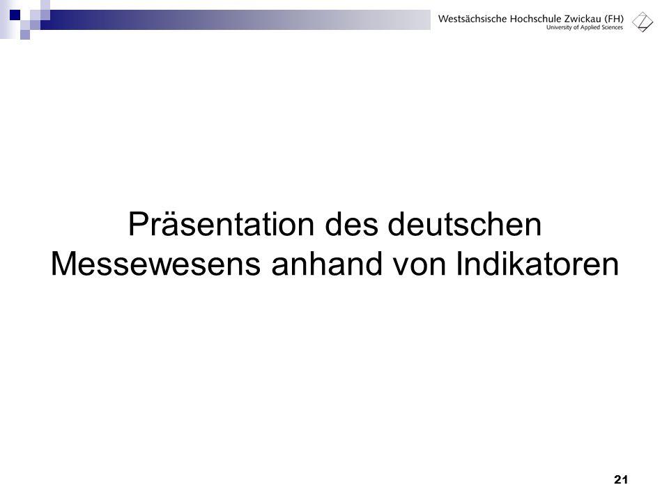 21 Präsentation des deutschen Messewesens anhand von Indikatoren