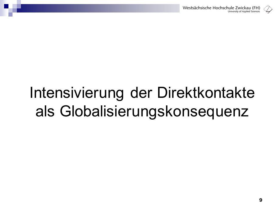 9 Intensivierung der Direktkontakte als Globalisierungskonsequenz