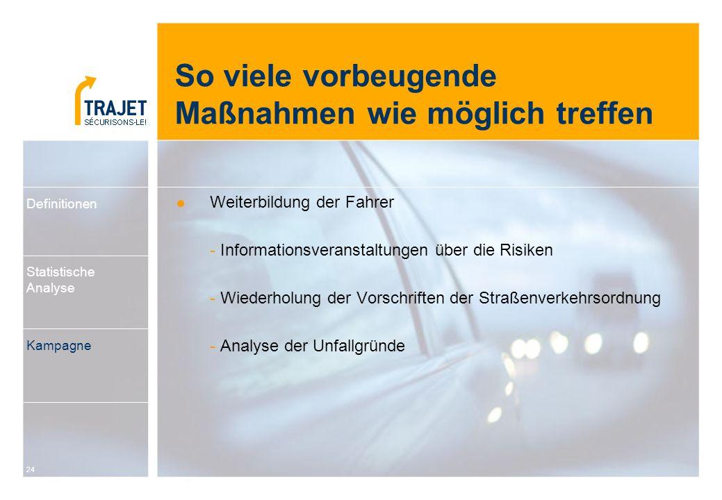 24 Weiterbildung der Fahrer - Informationsveranstaltungen über die Risiken - Wiederholung der Vorschriften der Straßenverkehrsordnung - Analyse der Un