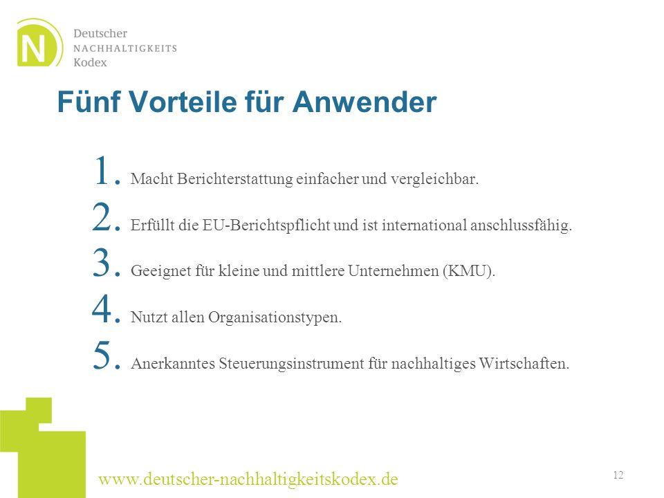 www.deutscher-nachhaltigkeitskodex.de Fünf Vorteile für Anwender 1. Macht Berichterstattung einfacher und vergleichbar. 2. Erfüllt die EU-Berichtspfli