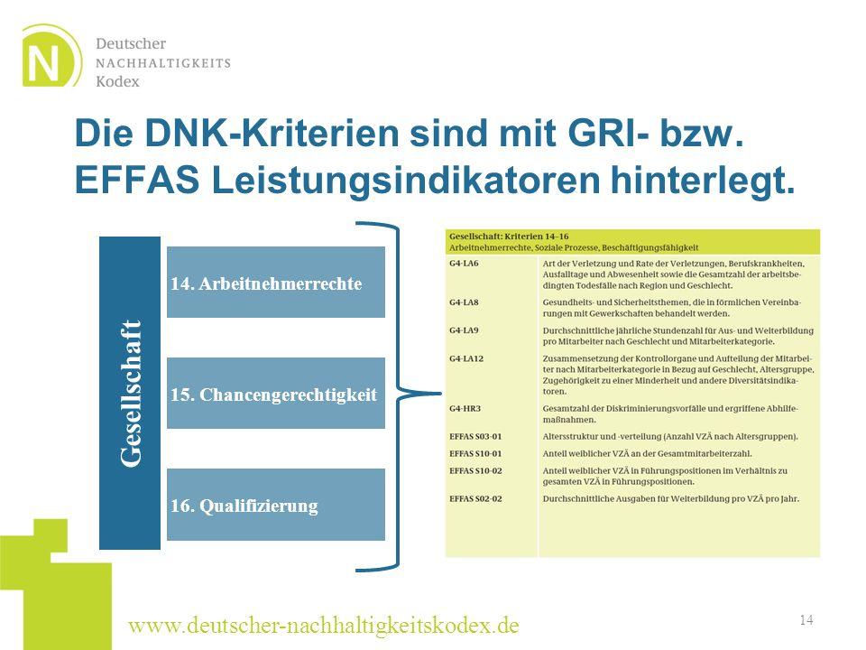 www.deutscher-nachhaltigkeitskodex.de Die DNK-Kriterien sind mit GRI- bzw. EFFAS Leistungsindikatoren hinterlegt. 14 14. Arbeitnehmerrechte 15. Chance