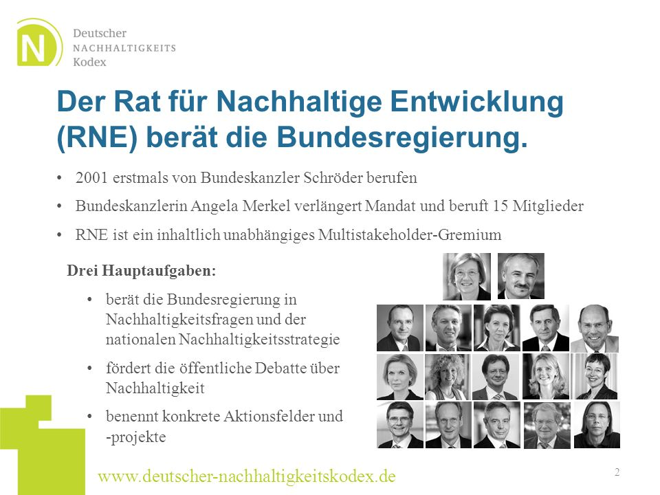 www.deutscher-nachhaltigkeitskodex.de Der Rat für Nachhaltige Entwicklung (RNE) berät die Bundesregierung. 2001 erstmals von Bundeskanzler Schröder be