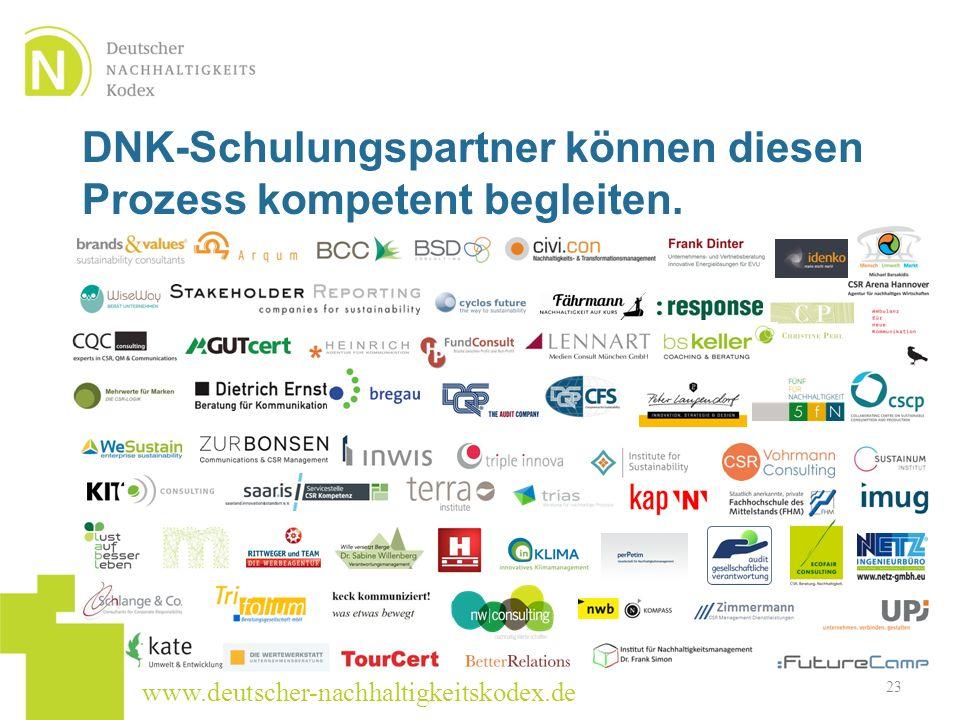 www.deutscher-nachhaltigkeitskodex.de DNK-Schulungspartner können diesen Prozess kompetent begleiten. 23