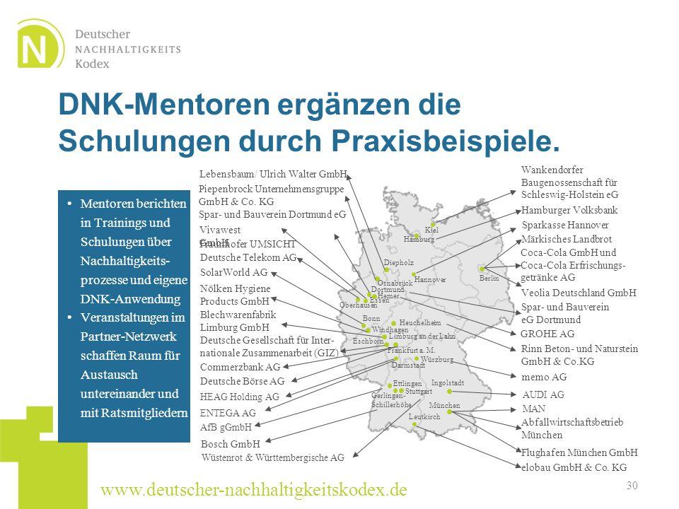 www.deutscher-nachhaltigkeitskodex.de DNK-Mentoren ergänzen die Schulungen durch Praxisbeispiele. 30 München Deutsche Gesellschaft für Inter- national