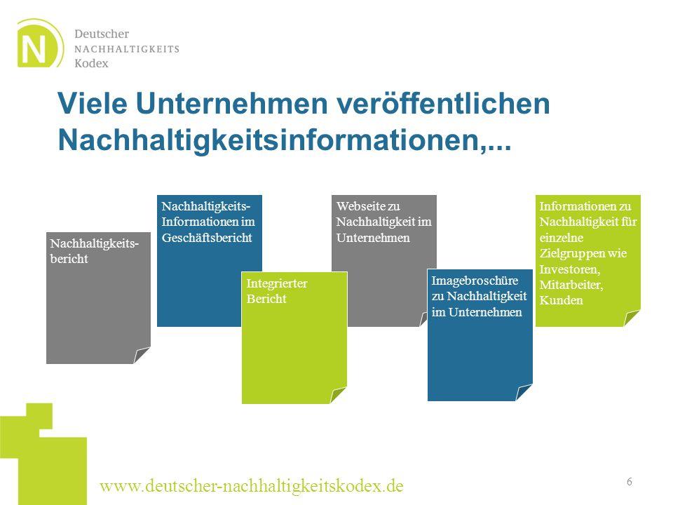 www.deutscher-nachhaltigkeitskodex.de Viele Unternehmen veröffentlichen Nachhaltigkeitsinformationen,... 6 Nachhaltigkeits- bericht Nachhaltigkeits- I