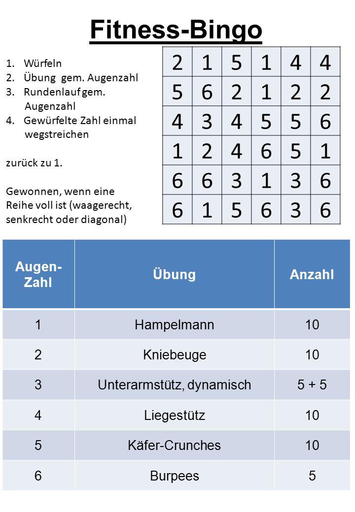 Fitness-Bingo 1.Würfeln 2.Übung gem. Augenzahl 3.Rundenlauf gem.