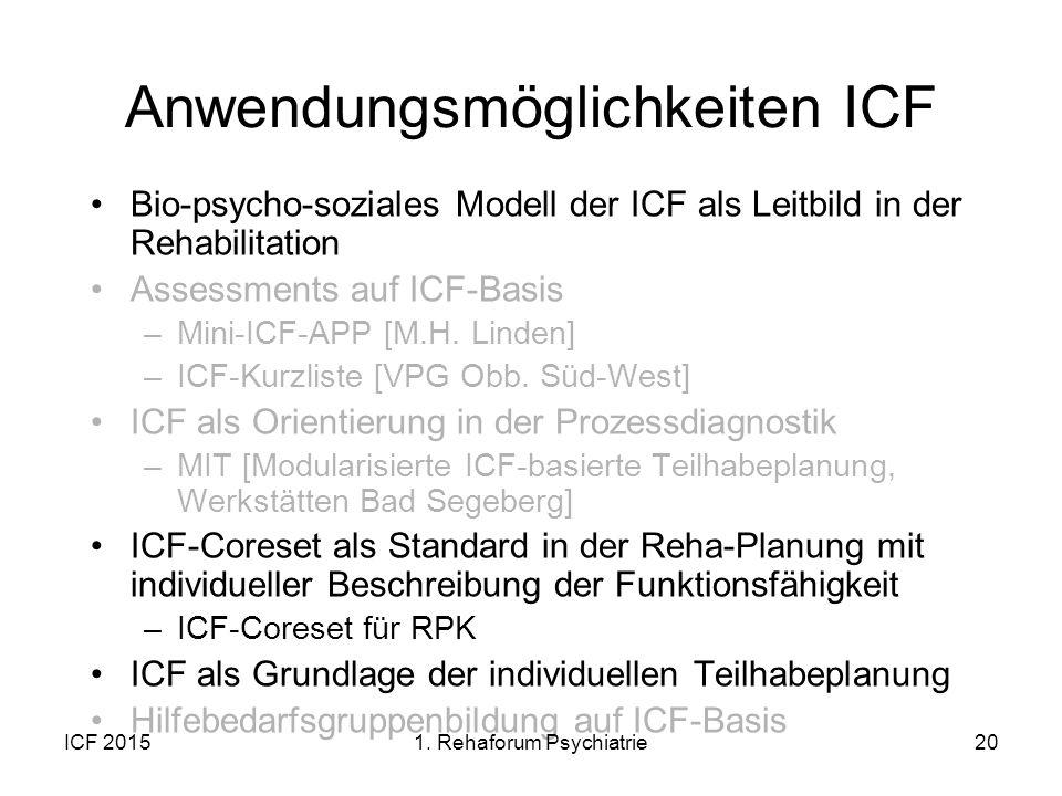 ICF 201520 Anwendungsmöglichkeiten ICF Bio-psycho-soziales Modell der ICF als Leitbild in der Rehabilitation Assessments auf ICF-Basis –Mini-ICF-APP [