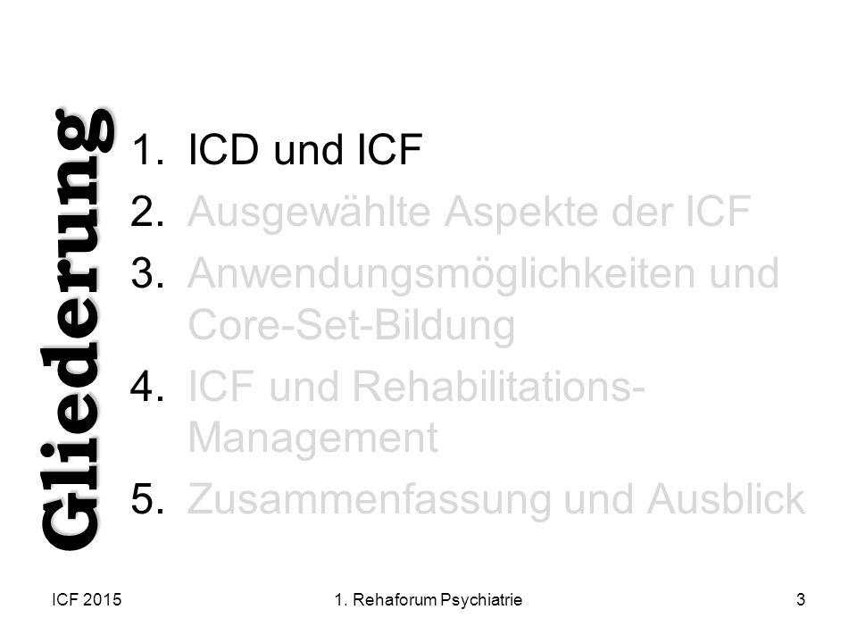 ICF 20153 1.ICD und ICF 2.Ausgewählte Aspekte der ICF 3.Anwendungsmöglichkeiten und Core-Set-Bildung 4.ICF und Rehabilitations- Management 5.Zusammenf