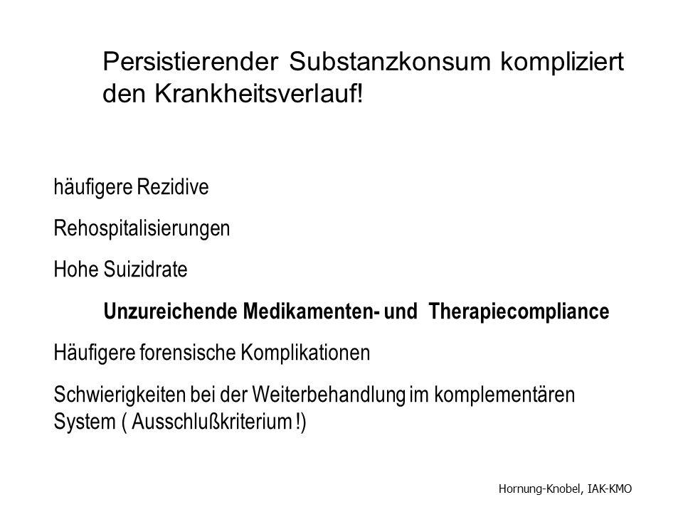 häufigere Rezidive Rehospitalisierungen Hohe Suizidrate Unzureichende Medikamenten- und Therapiecompliance Häufigere forensische Komplikationen Schwie